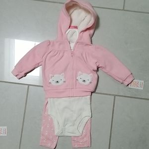 NWT Carter's three piece girl kitty outfit
